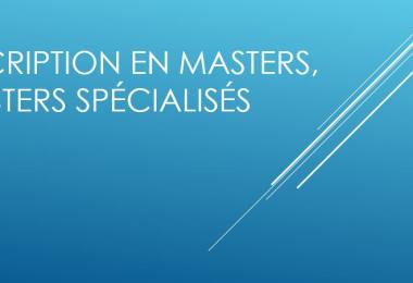 Inscription en Masters, Masters spécialisés 2015/2016