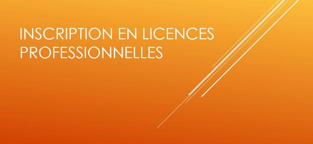inscription en licences professionnelles
